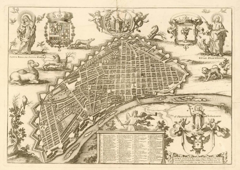 Map of lima, Mulder, 1659. Spot the pangolin.