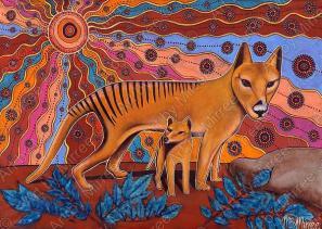 Thylacine/Tasmanian Tiger Spirit Dreaming Giclee Aboriginal Art Print by Mirree